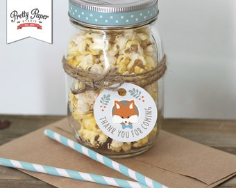 Woodland Favor Tags // INSTANT DOWNLOAD // Thank You Tags // Fox Baby Shower Decor // Baby Boy // Birthday Party // Digital Printable BS01