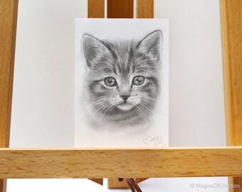 Original chat portrait dessin original dessin au crayon