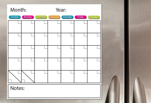 Monthly Calendar Board : Monthly dry erase board magnet one month white