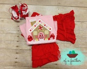 Christmas Gingerbread Candy House Applique Boutique Tee or Dress
