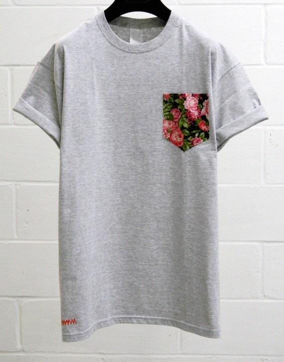 Pocket tee men 39 s pink cerisse floral pattern grey pocket for Pocket tee shirts for womens