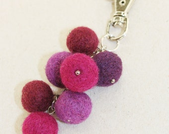 Wool Needle Felted Keychain Bag Charm with Bunch of Purple Red  Grapes Key Ring Christmas Valentines Mother's Day Present Gift