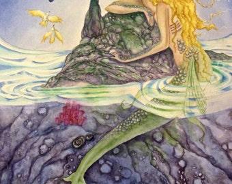 "Print of Original watercolor painting of a mermaid ""Contemplation"""