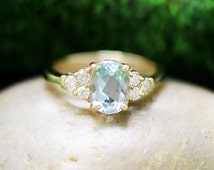 Aquamarine Diamond Ring, 14k Solid Yellow Gold (Free Shipping)