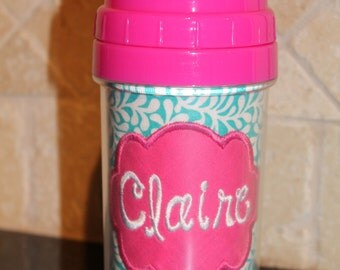 Aqua/White Floral Pink Sippy Cup - Personalized w/ Name or Monogram - SIPPY or STRAW Top options