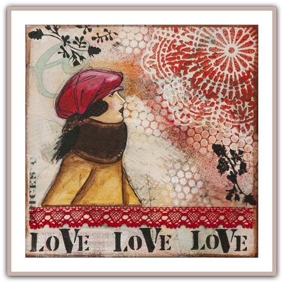 "Love – collage painting with woman, mixed media art dedicated to love, unique wall decor, art reproduction 12"" x 12"" - 30 x 30 cm"