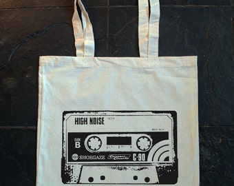 Compact Cassette,record tape, cassette tape, SHOEGAZE, NOISE, old school - Screen printed cotton tote bag