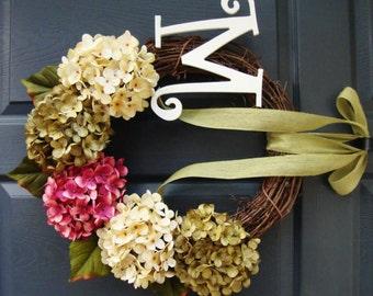 Monogram Door Wreath | Personalized Wreath | Hydrangea Wreath | Initial Wreath | Wreath | Housewarming Gift | Hostess Gift