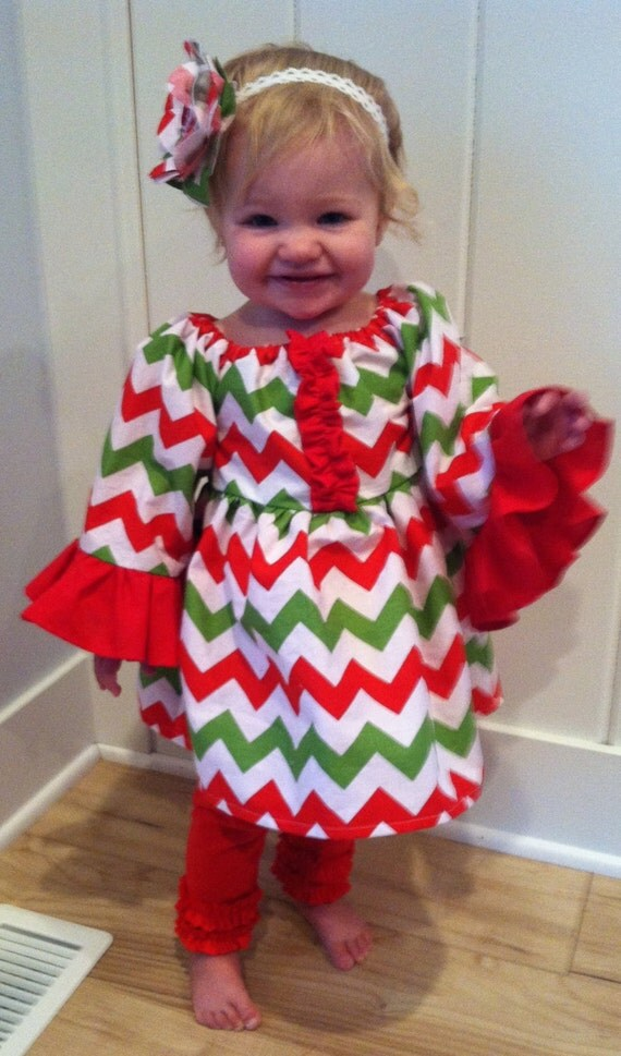 Christmas Chevron Peasant Dress Beautiful red by