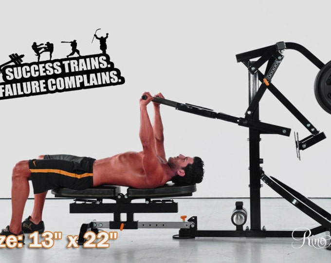 """Vinyl Decal MOTIVATION WALL QUOTES """" Success trains failure complains wall decal wall sticker workout training mma boxe baseball hockey"""