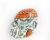 Orange magnet house / Hand painted spring decoration