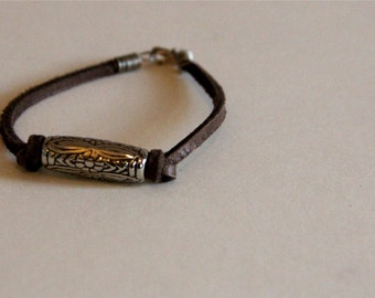 Leather and Silver Bead Bracelet