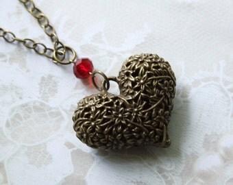 Vintage Brass Heart Pendant, Large Pendant Statement Necklace, Long Statement Necklace
