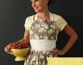 Rachel Apron pdf sewing pattern in sizes Small, Medium, and Large. This adorable apron has a bib top and a box pleat detail on the bottom.