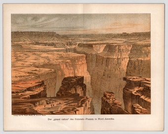 1894, Antique Print, Grand Canyon, Original Print, Rare Print