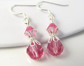 Pink Earrings, Pink Jewelry, Pink Bead Earrings, Pink Bead Jewelry, Rose Pink Earrings, Rose Pink Jewelry, Crystal Jewelry, Beaded Earrings