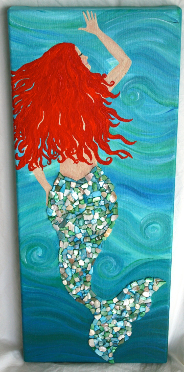 Mermaid hand painted canvas with shell by fromcapemaywithlove for Art on canvas diy