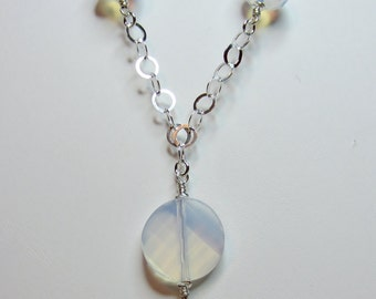 White opal rondelle & twisted crystal necklace