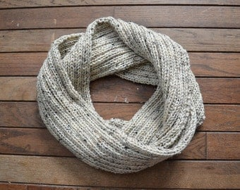 Gifts For Her, Gifts For Him, Women's Accessories, Men's Accessories, Neutral Scarf, Oatmeal Scarf, Oatmeal Knit Scarf, Oatmeal Knit Cowl