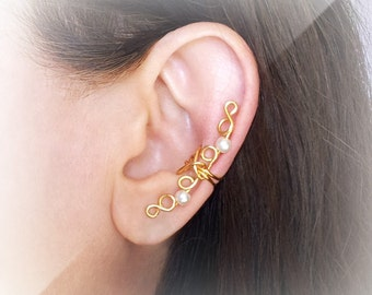 Gold Ear Cuff 24K gold plated Ear Wrap Pearls