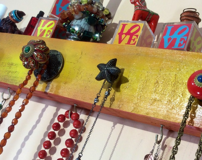 Colorful wall rack /jewelry shop storage /necklace holder /hanging boutique display/ seller organizer reclaimed wood decor 4 hooks 5 knobs