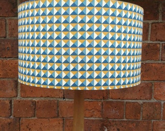 Three Dimensional Geometric Industrial Look - Fabric Lampshade.