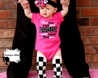 Dont you wish your Daddy could race like mine - Girls Checkered Applique Hot Pink Shirt or Bodysuit & Matching Hair Bow Set