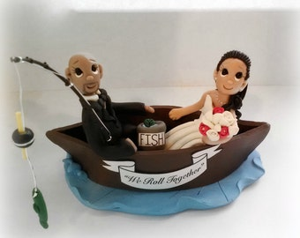 Custom Boat / Fishing Wedding Cake Topper