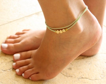 Light Green Anklet - Ankle Bracelet - Layered Anklet - Foot Jewelry - Foot Bracelet - Beaded Anklet - Summer Jewelry - Beach Jewelry
