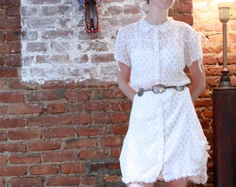 Lace colared sheer floral dress- small to medium