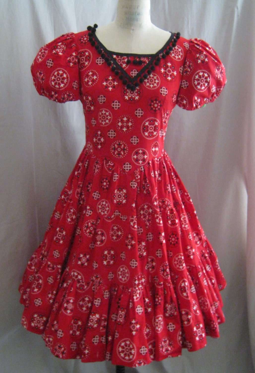 Vintage 60s Square Dance Dress Bandana Print Country Western