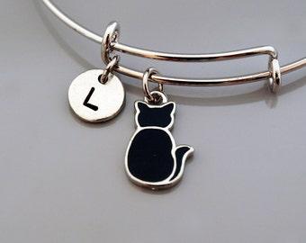 Black cat bangle, Black Cat bracelet, Kitten, Kitty, Black cat charm jewelry, Expandable bangle, Personalized bracelet, Initial bracelet