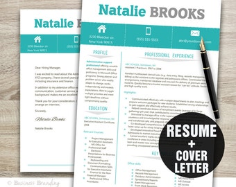 resume and cover letter template resume template professional resume instant download resume download - Modern Resume Template Download