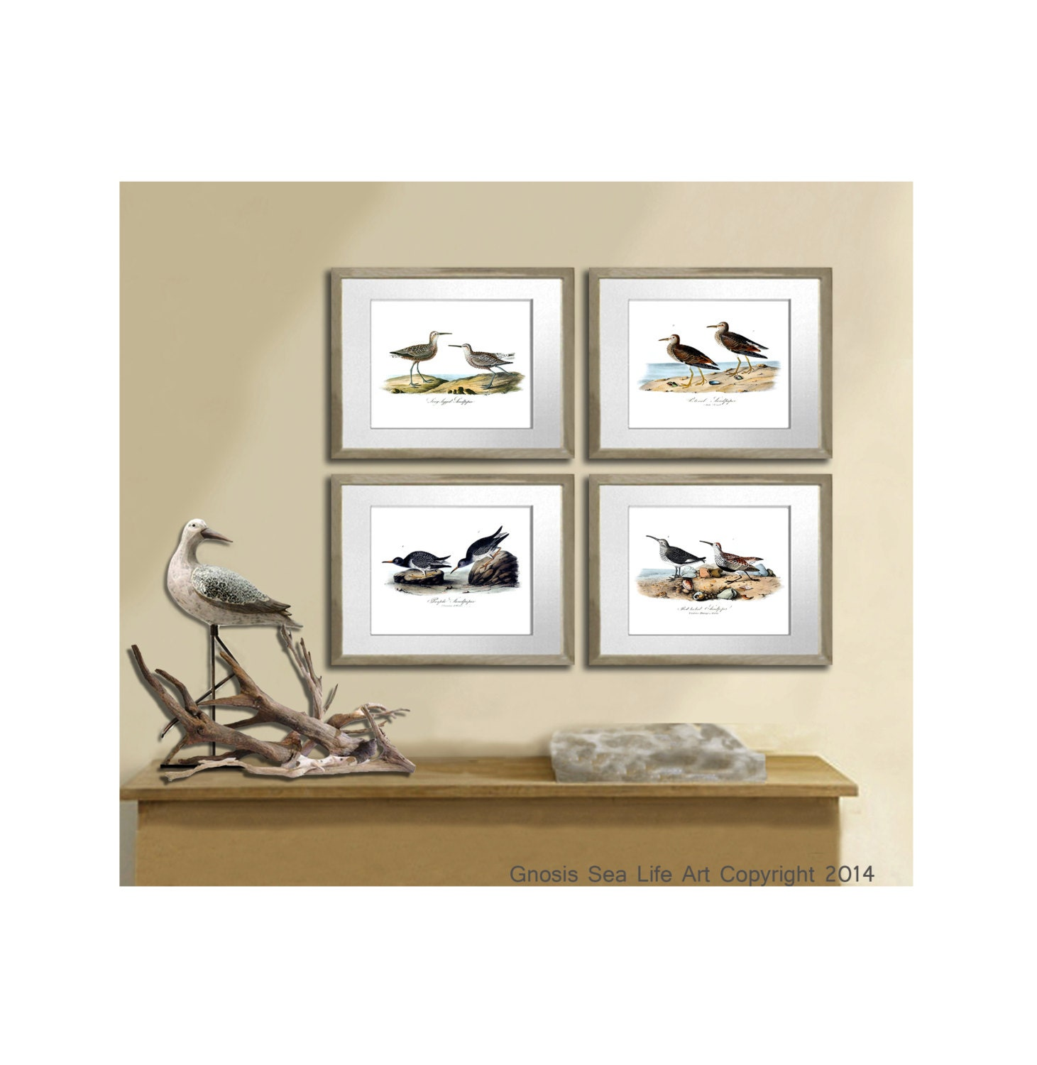 Seaside decor shore bird prints set of 4 by gnosissealifeart for Shore home decor