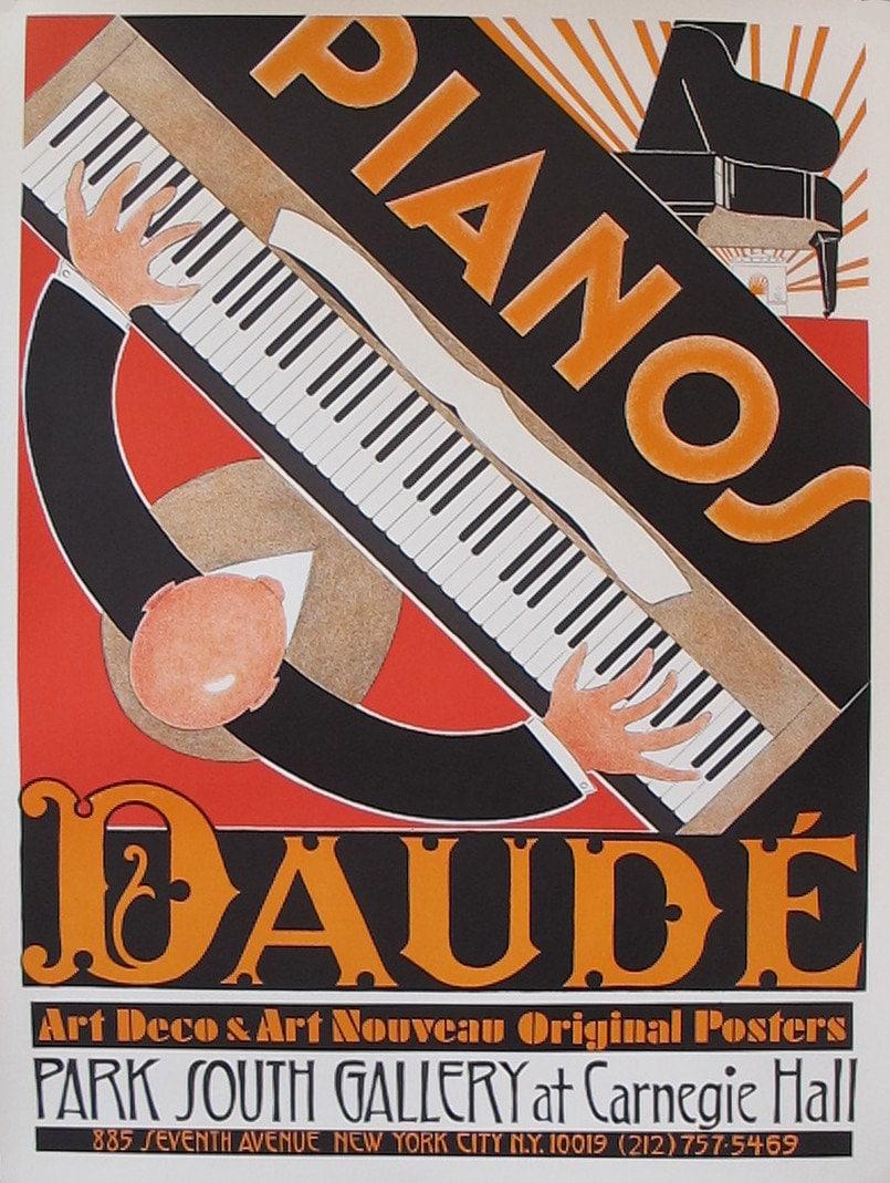1980s original french art deco piano poster pianos daude for Piani art deco