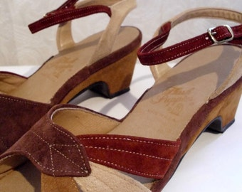 70s Suede Ankle-Strap Sandals