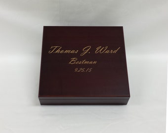 Engraved Humidor Cigar Box, Cherry, Wedding gift, Groomsmen Gift, Best Man Gift, Wedding Party Gift, Personalized Humidor, Grooms Gift