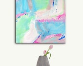 Abstract Painting Print, Abstract Art Teal Pink White Painting Print, Large Pastel Abstract Canvas Wall Art, Contemproary Art