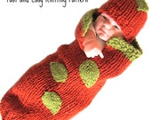 Knit Pattern - Pumpkin Baby Cocoon PDF - Infant Costume - Fast Easy diy