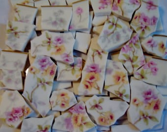 Supplies -Mosaic Pieces - Sweetheart Roses  - Yellow - Pink - Shades of Lavander - White China BG -Vintage-China Plate -Mosaic Pieces