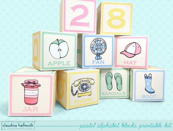 Cupcake favor boxes for baby shower : Pastel alphabet blocks mini cupcake favor boxes baby shower