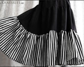 Cirque Macabre Tiered Skirt in Black with Striped Ruffle - Brand New by Kambriel