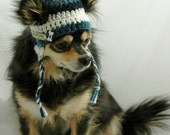 Dog hat crocheted, Variegated Dark Teal and Winter White, Medium, Small or Xsmall