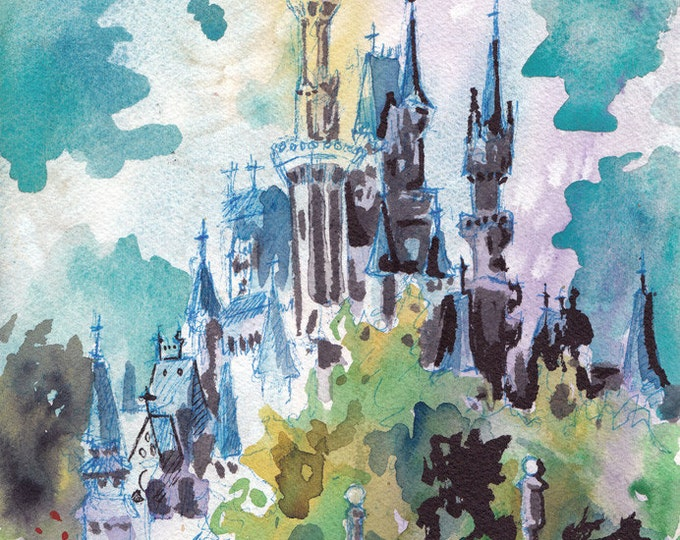 Featured listing image: Cinderella's Castle - Print of Disney World - Reproduction of Original Watercolor and Ink Drawing by Jen Tracy