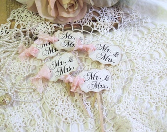 Mr. & Mrs. Wedding Cupcake Toppers w/ribbons - Parchment Party Picks - Set of 12 or 18 - Choose Ribbons - Rustic Vintage Style