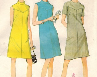 1960s McCall's 9071 Vintage Sewing Pattern Misses A-line Dress Size 10 Bust 32-1/2
