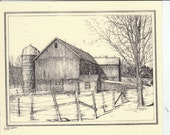 Barn #1 of Chenango County Barn series (1997) This 6-pack of barn notecards features an ink drawing of a scenic barn drawn by L.C. DeVona.
