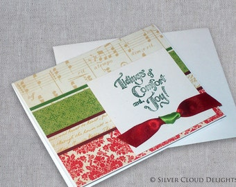 Holiday Card in Red and Green - Tidings of Comfort and Joy - Christmas Greeting Card with Red Ribbon Bow Tie - Damask Card - Handmade Cards