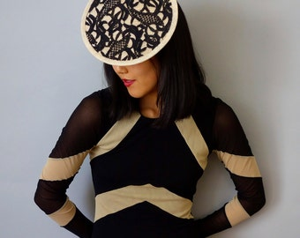Mini Tilt Fascinator Cocktail Hat in Black Guipure Lace over Cream Sinamay Straw