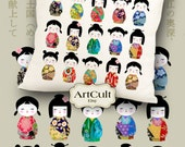 Digital Sheets KOKESHI Images Printable download to print on fabric / paper, Iron On Transfer for tote bags t-shirts pillows ArtCult designs
